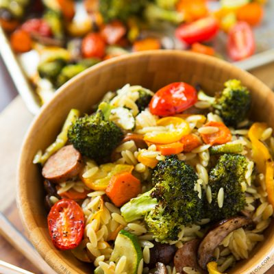 Roasted Vegetables and Andouille Orzo | tablefortwoblog.com