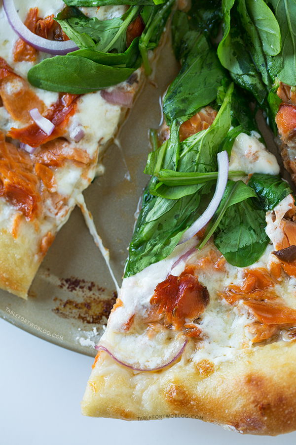 Smoked Salmon and Burrata Pizza | tablefortwoblog.com
