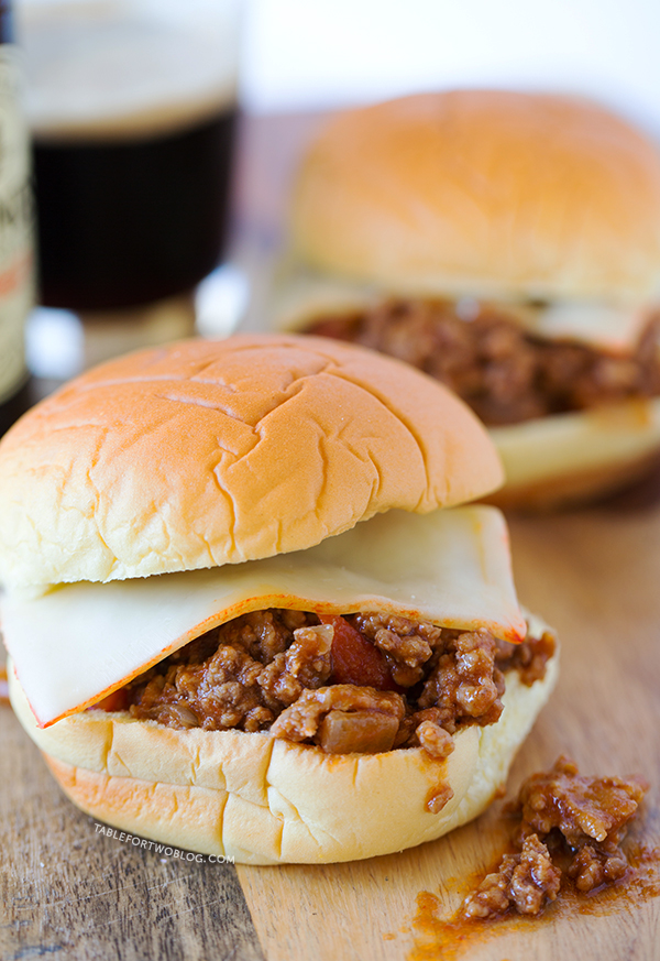Chorizo Stout Sloppy Joes | tablefortwoblog.com