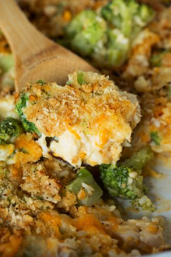 Easy Broccoli, Rice, and Chicken Casserole that comes together in 1 casserole dish. Perfect for busy weeknights! Recipe on tablefortwoblog.com