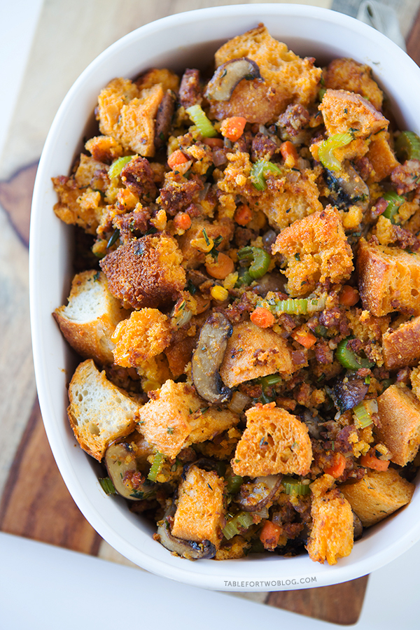 Cornbread Chorizo Stuffing is a nice break from the traditional stuffing! Recipe on tablefortwoblog.com