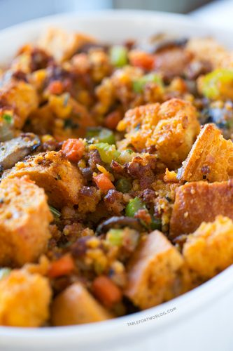 Cornbread Chorizo Stuffing | tablefortwoblog.com