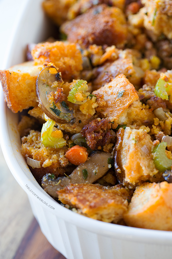 Chorizo Cornbread Stuffing - Table for Two