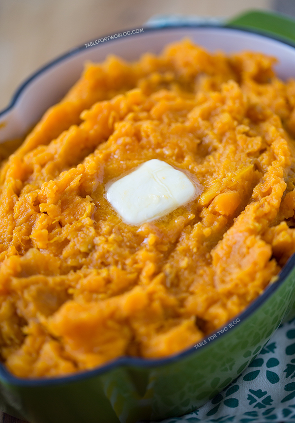 Mashed Sweet Potatoes recipe on tablefortwoblog.com