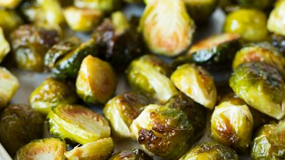One of the best ways to eat brussels sprouts is to roast them with some garlic! Recipe on tablefortwoblog.com