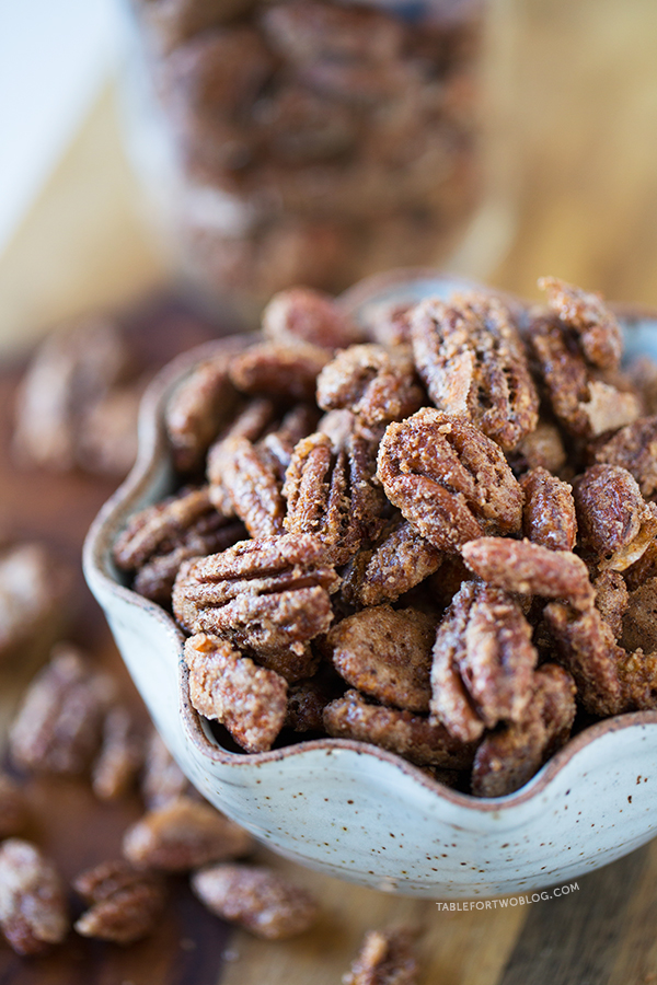 Maple Cinnamon Spiced Nuts are perfect for holiday gift giving and year-round snacking! Recipe on tablefortwoblog.com