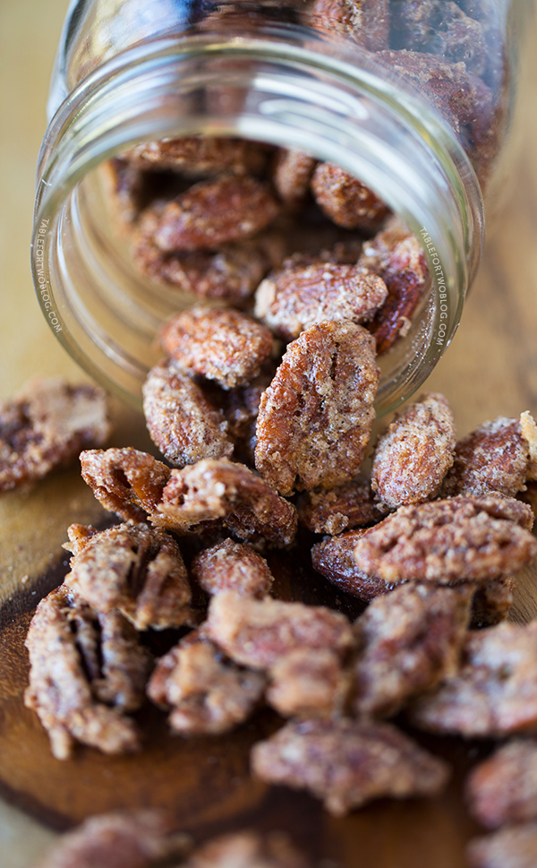 Maple Cinnamon Spiced Nuts are perfect for holiday gift giving! Recipe on tablefortwoblog.com