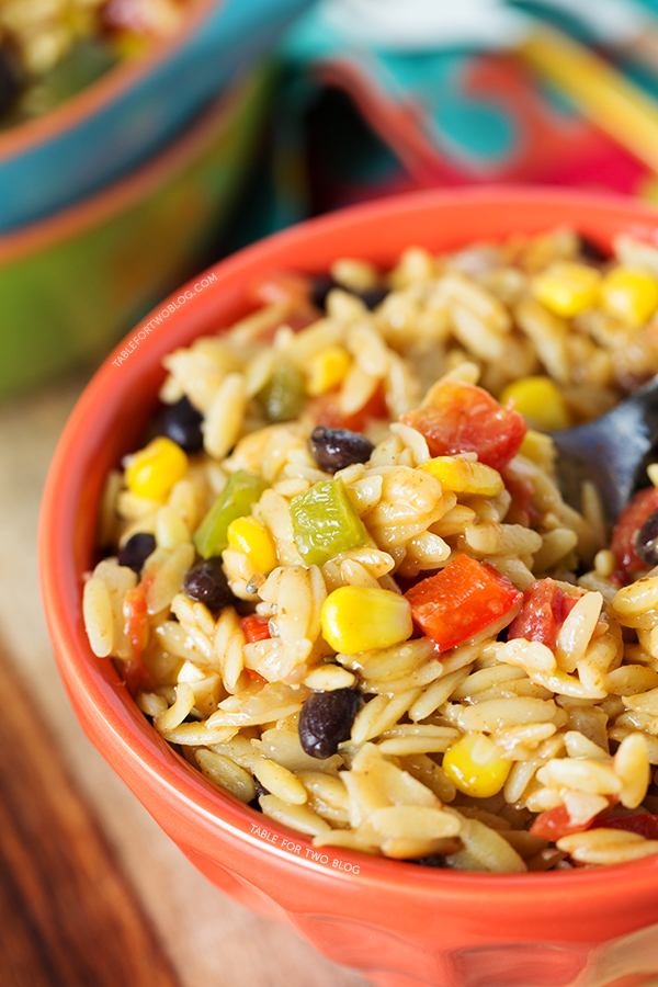 One-Pot Tex-Mex Orzo on tablefortwoblog.com