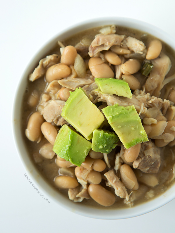Slow Cooker White Turkey Chili is a great way to use up leftover Thanksgiving turkey! Recipe on tablefortwoblog.com
