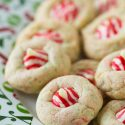 Sugar Cookie Candy Cane Blossoms from tablefortwoblog.com