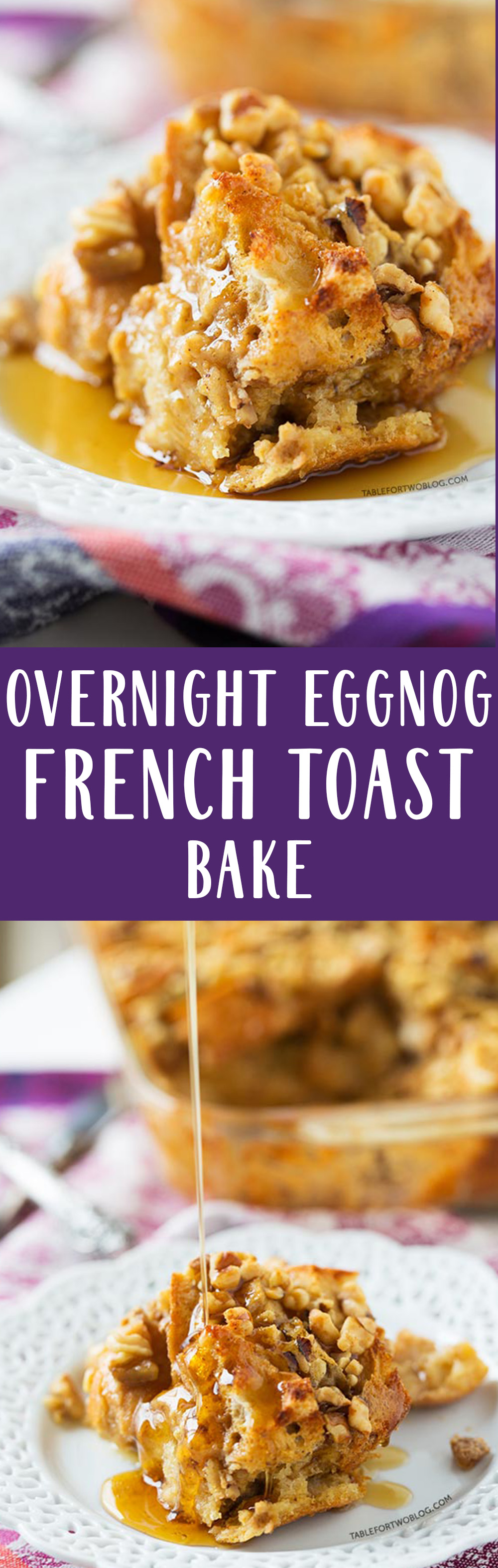 Overnight eggnog French toast bake is a breakfast crowd-pleaser! A few simple ingredients that you put together overnight and wake up the next morning to pop it in the oven. Your guests will think you slaved over this!