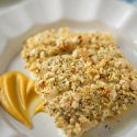 Spiced Almond Crusted Halibut with Pumpkin Sweet Potato Puree, recipe on tablefortwoblog.com