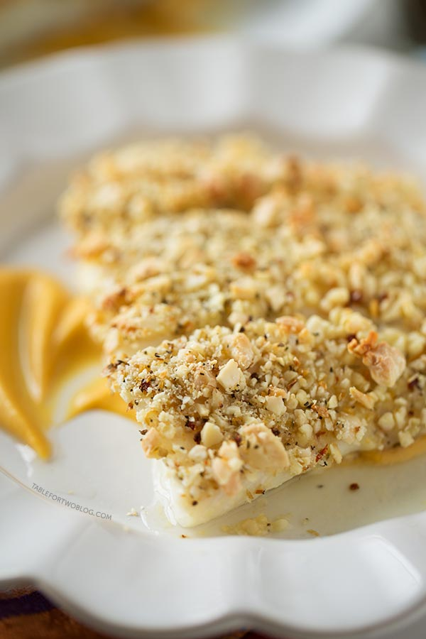 Spiced Almond Crusted Halibut with Pumpkin Sweet Potato Puree, recipe ...