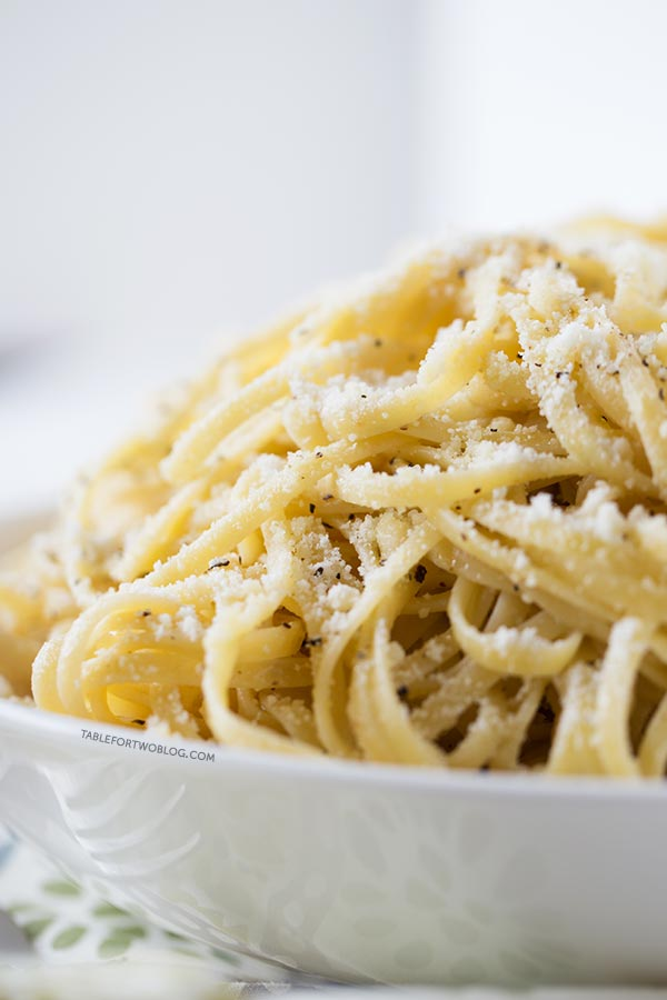 Such an easy pasta dish to whip together! Cacio e Pepe recipe on tablefortwoblog.com
