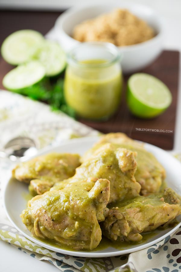 Slow Cooker Salsa Verde Chicken - Table for Two