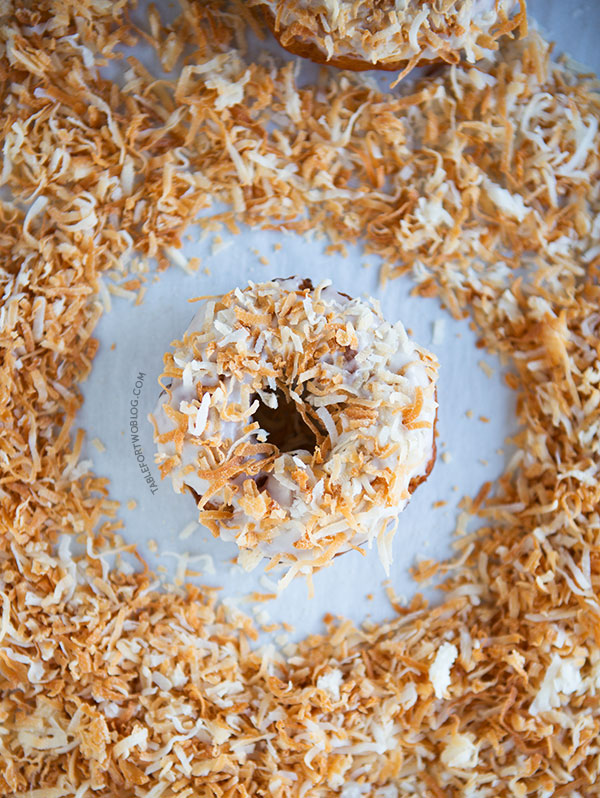 Coconut lovers will love this triple coconut donut!