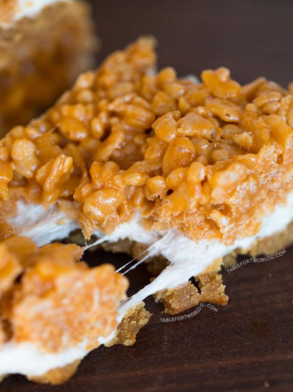 Butterscotch Fluffernutter Krispy Bars via tablefortwoblog.com
