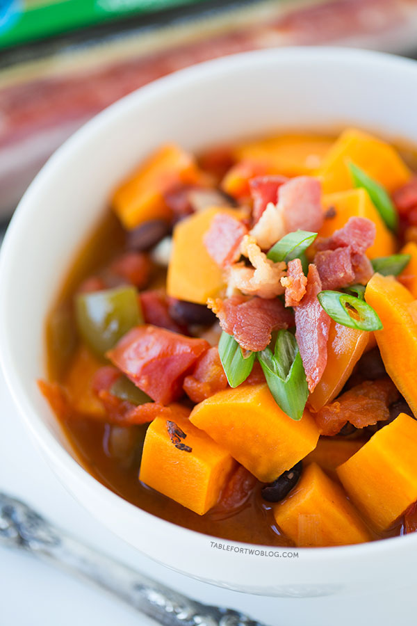 Sweet Potato, Black Bean, and Bacon Chili via tablefortwoblog.com