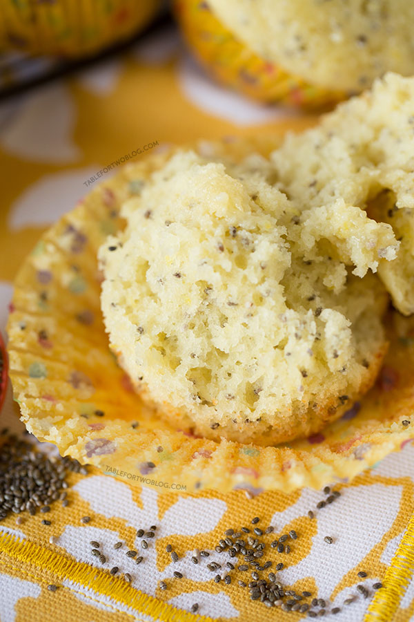 Honey lemon chia seed muffins are the perfect muffins to bring Spring into your kitchen! Recipe on tablefortwoblog.com