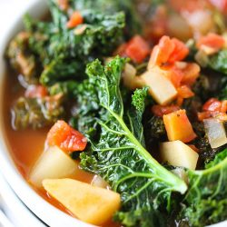 Tomato, kale, and potato soup is a perfectly hearty and healthy soup that is chock full of veggies!