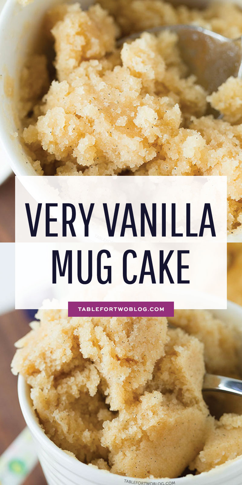 The moistest very vanilla mug cake is like a fluffy vanilla cupcake in a mug! Recipe on tablefortwoblog.com #mugcake #vanillamugcake #vanillacake #cakeinamug #vanilla