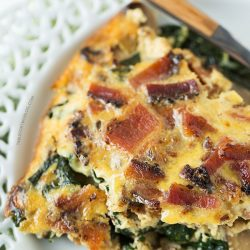 Crustless Bacon, Spinach, and Mushroom Quiche will be the star at your next brunch!