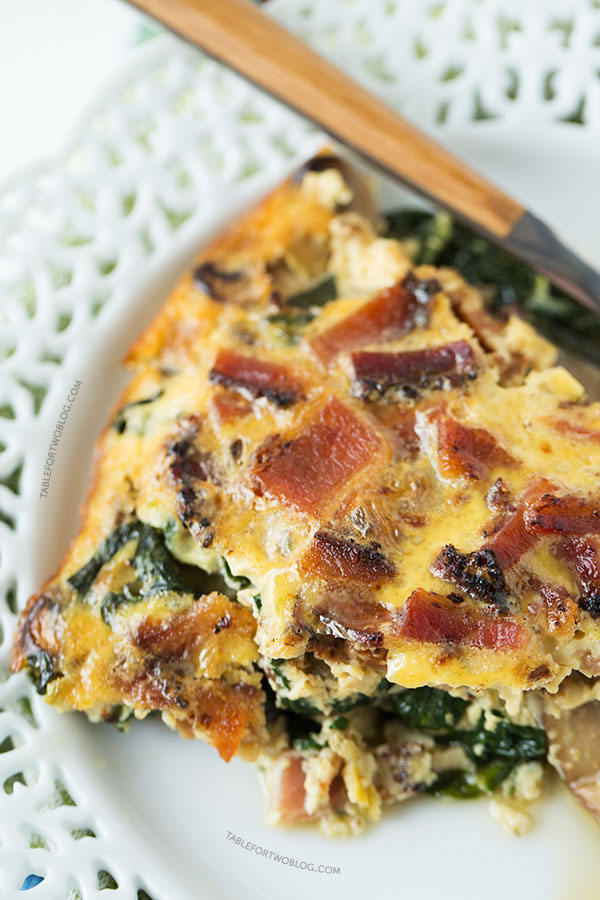 Crustless Bacon, Spinach, and Mushroom Quiche will be the star at your ...