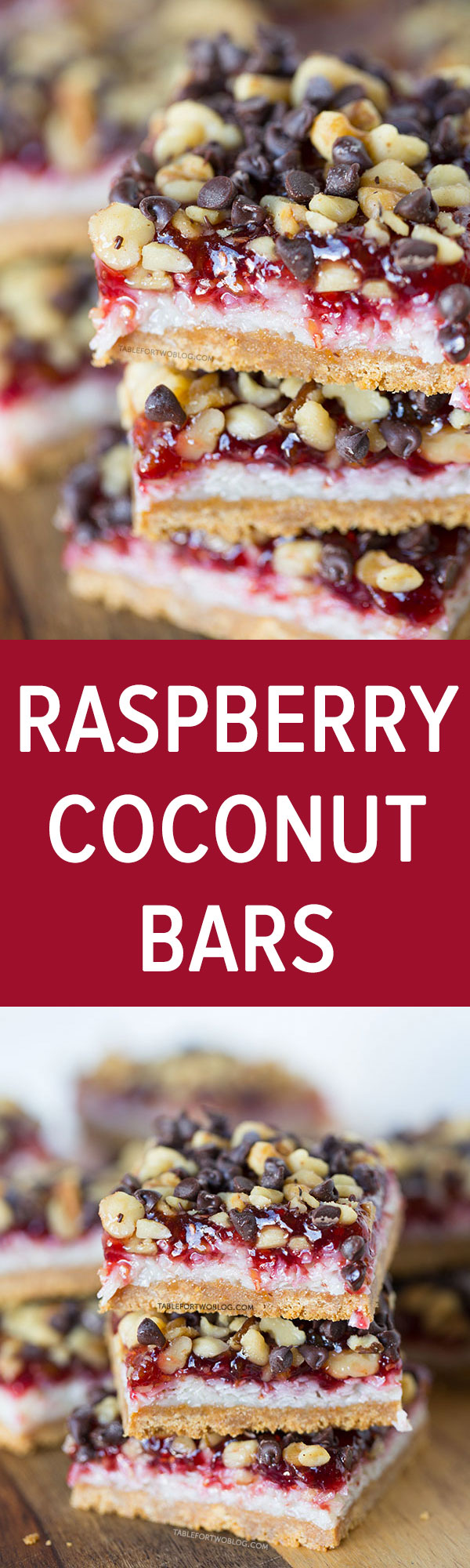 These raspberry coconut bars are every coconut and raspberry lover's dream! It will satisfy any sweet tooth! Recipe on tablefortwoblog.com