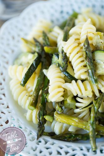 A simple grilled asparagus and zucchini pasta for summertime dinners!