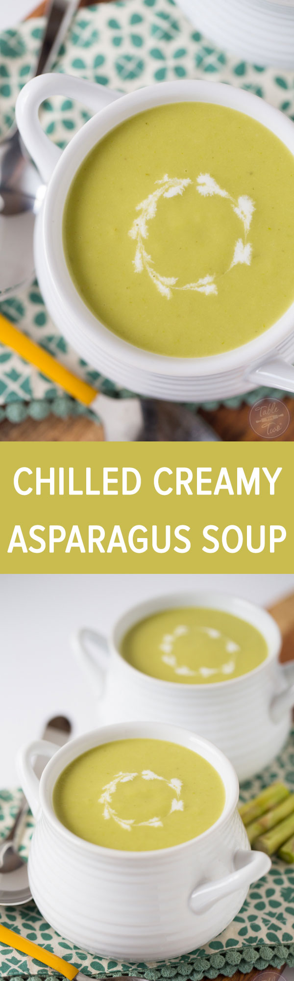 You'll want a large bowl of this chilled creamy asparagus soup for the warm weather! It's so refreshing and cools you right down!