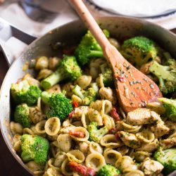 This cozy pasta dish comes together in less than 30 minutes! You need this on your dinner table tonight! Recipe on tablefortwoblog.com