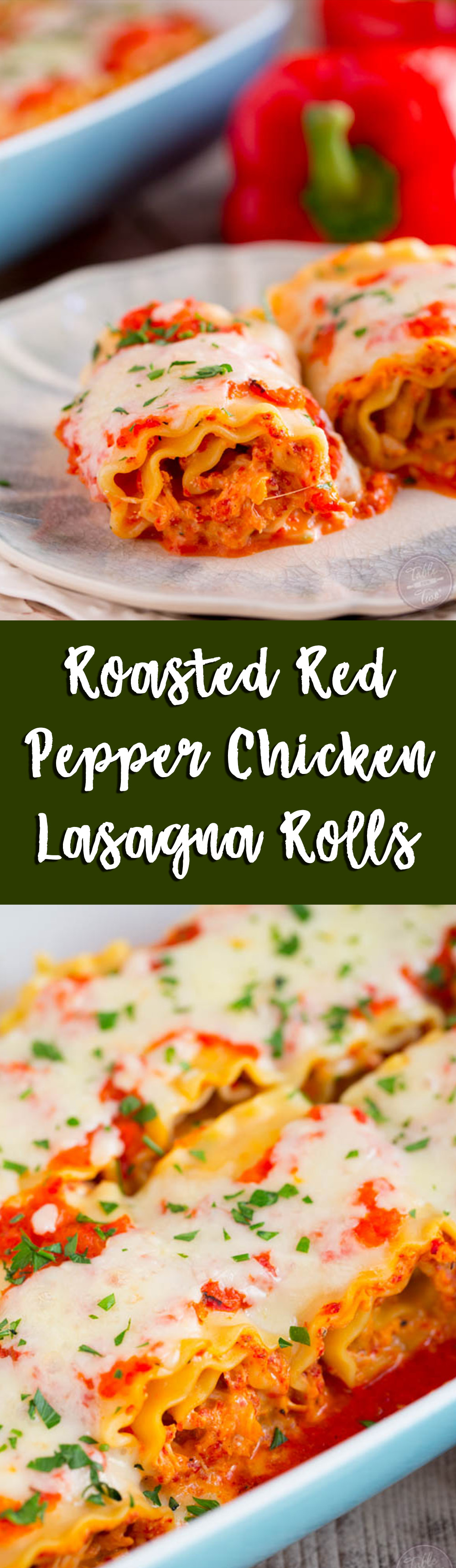 Roasted red pepper chicken lasagna rolls are a flavorful and fun twist on the classic way lasagna! Give these rolls a try!