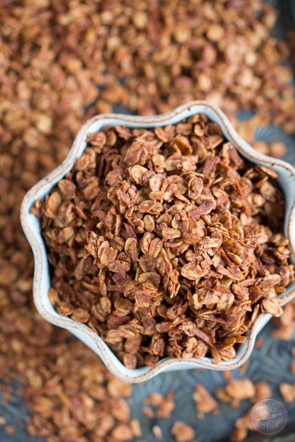 Chocolate coconut granola combines two of the most delicious flavors! The perfect topping for your morning yogurt!
