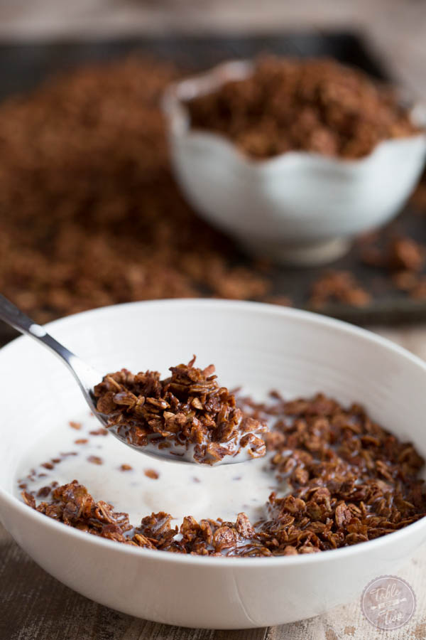 Chocolate coconut granola combines two of the most delicious flavors! The perfect cereal for your mornings!