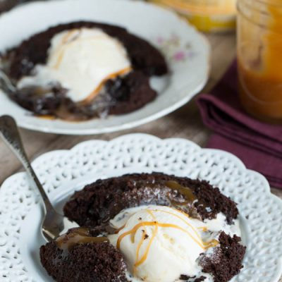 Salted caramel molten lava cakes for two are the perfect treat for you and yours on any night of the week!