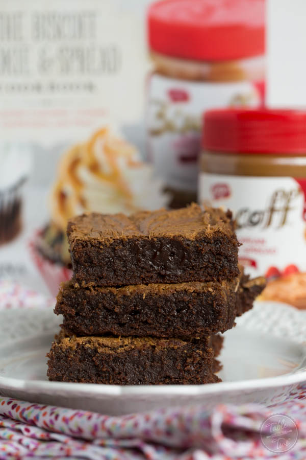 These fudgy Biscoff swirl brownies are the moistest and chewiest brownies ever! The Biscoff swirl on top gives this brownie that irresistible temptation!