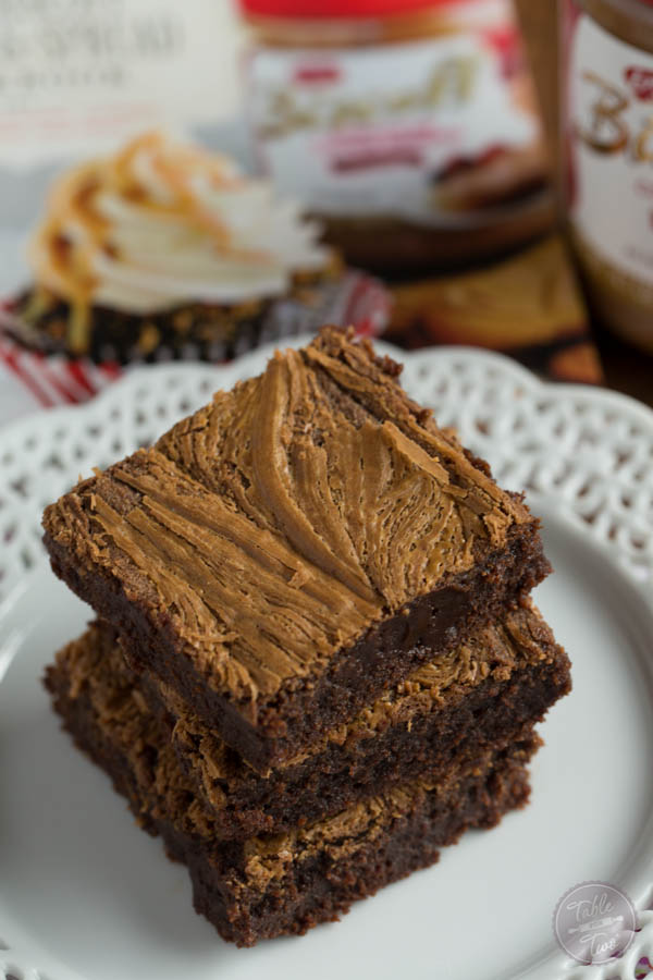 These fudgy Biscoff swirl brownies are the moistest and chewiest brownies ever!
