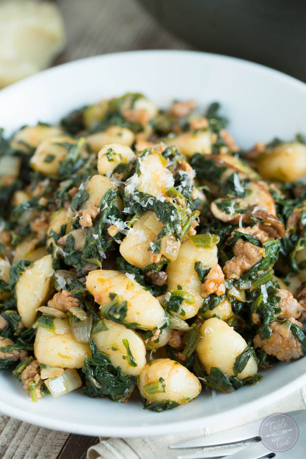 This 15-minute spicy sausage, spinach, and mushroom gnocchi is SO flavorful and incredibly easy to whip up that you'll want it on your dinner table multiple times a week!
