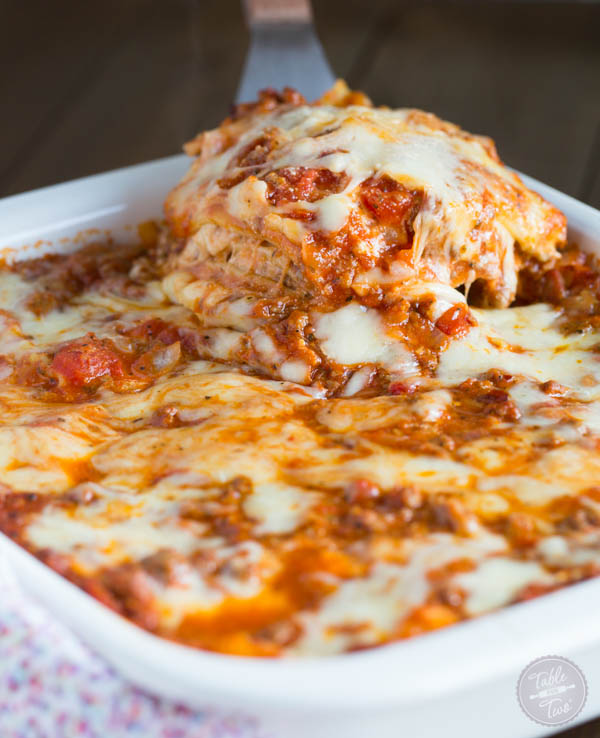 Spicy meaty lasagna is the perfect party casserole! This is a crowd-pleaser! Don't expect to leave with anything left in your casserole dish :)