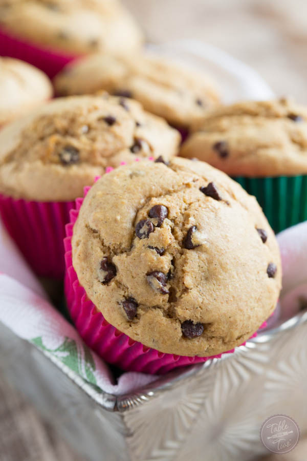 There's a secret to these fluffy whole wheat blend chocolate chip muffins! They're healthier but there's no sacrifice in taste!