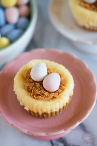 Cute mini cheesecake nests are perfect for Easter!