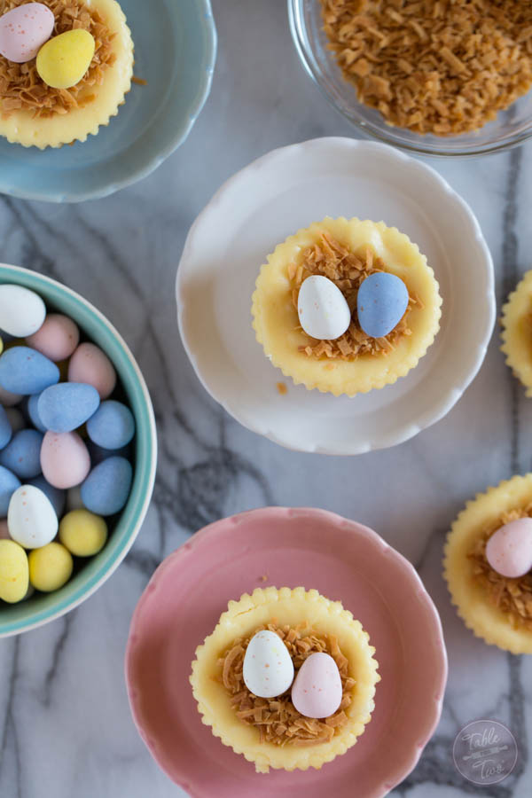 Cute mini cheesecake nests are perfect for Easter and a great activity to do with the kids!