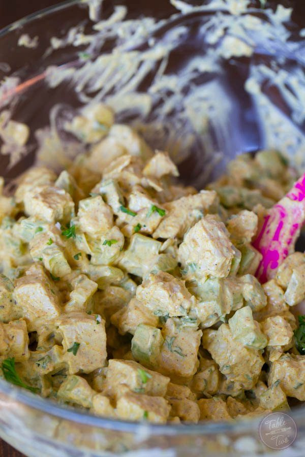 Curry chicken salad is the perfect side item to have at any gathering, especially one that is going to be a bit on the warm side! The cold curry chicken salad will be a refreshing bite!