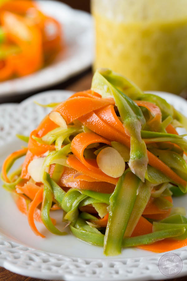 A fun way to eat asparagus and carrots! Pasta-like or a unique salad, either way you look at it, this is a delicious new way to incorporate veggies in your meals!