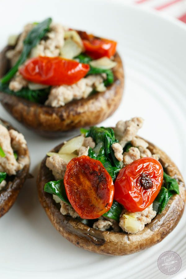 Ground Turkey and Spinach Stuffed Mushrooms are the perfect lunch or ...