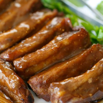 Hoisin-glazed spare ribs are a delicious addition to your Chinese-themed weeknight menu! It's so easy to make and the sauce is the perfect sweet/salty combination!