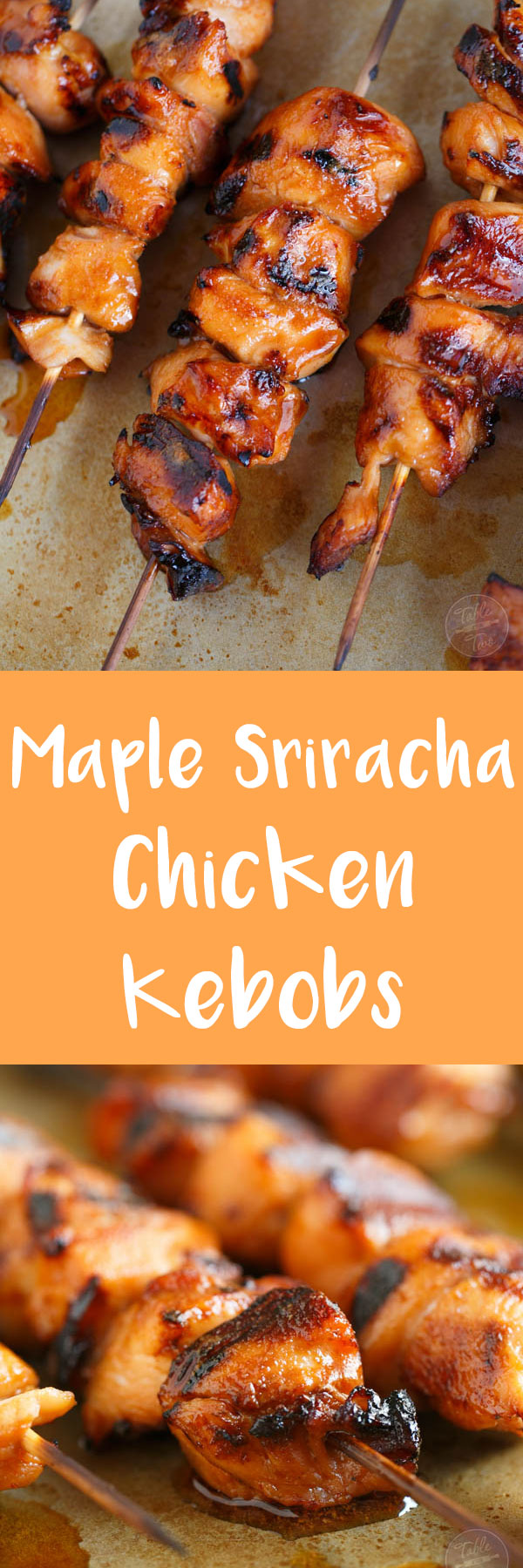Grilled maple sriracha chicken kebobs are the best combination of salty, spicy, and sweet! With the easiest marinade you'll ever make, go ahead and throw some on the grill before summer is over!