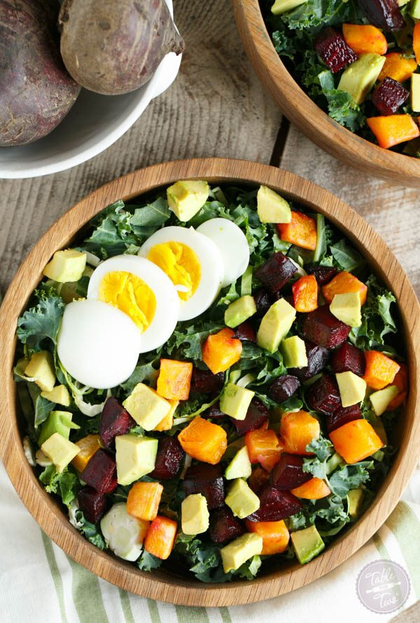 The best kind of Fall salad to have! Topped with a dijon shallot dressing, this Fall harvest salad is calling your name!