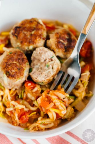 Make a batch of these zucchini turkey meatballs with zoodles. Freeze half the meatballs then use them to top over a savory zoodle dish later! Paleo-friendly!