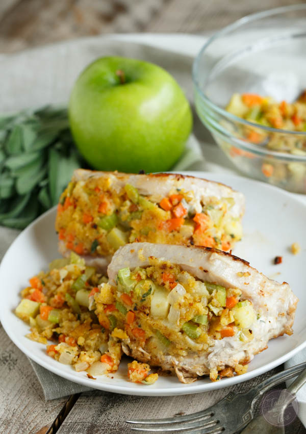 These apple sage cornbread stuffed pork chops are going to be a date ...